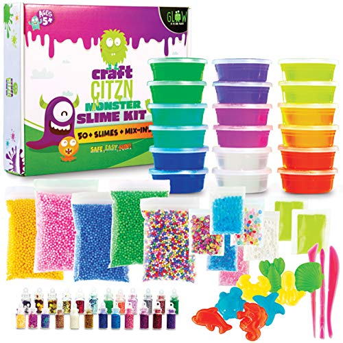 DIY Slime Kit-Slime Kits for Girls and Boys-Ages 5+,Glow in The Dark Slime Making Kit Includes-Coloured Clear Slime, Glitter Vials, Foam Balls, Beads, Glow Powder, Shaping Utensils-Kids Love it