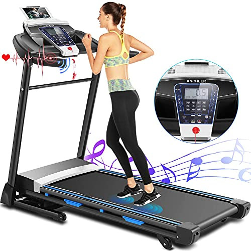 ANCHEER Treadmill, 3.25hp, App Control, Folding Treadmill Machine for Home with Automatic Incline, for Running, Walking, and Jogging, Portable Treadmill for Home, Gym, Office Workout.