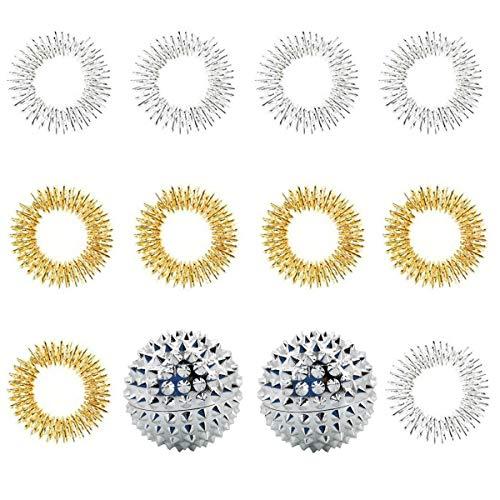 KungFu Mall Massage Kit, 10 Stücke Akupressur Massage Ring & 2 Stücke Magnetische Akupressurkugeln zur Fingermassage oder Zehenmassage