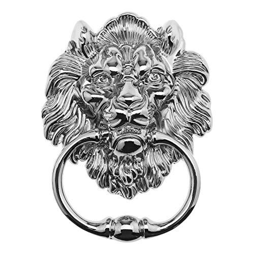 15,8 cm cabeza de león con tornillos decorativo aleación Knocker pulido cromo brillante clásico diseño antiguo para puertas delanteras y porches principales accesorios