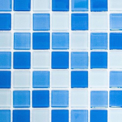 tessere di mosaico Crystal Trasparente Vetro Mosaico Mix colore: azzurro