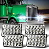 4x6 Inch LED Headlights Rectangular Dot Approved Wowtome 4PCS 45W High Low Sealed Beam Compatible with Kenworth T800 T600 Peterbilt 379 Feightliner Oldsmobile Cutlass H4651 H4652 H4656 H4666 H6545