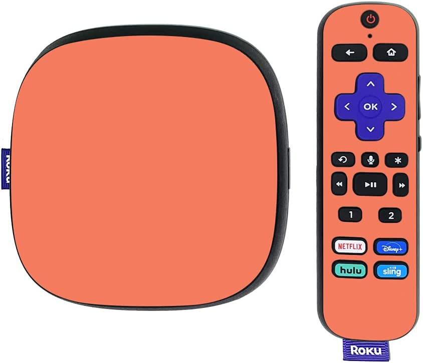 MightySkins Skin Compatible with Roku Ultra HDR 4K Streaming Media Player (2020) - Solid Salmon | Protective, Durable, and Unique Vinyl Decal wrap Cover | Easy to Apply | Made in The USA