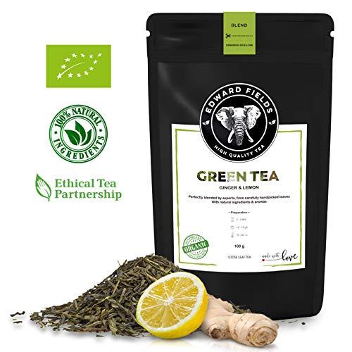 Edward Fields - Té Verde orgánico de alta calidad con Jengibre y Limón. Ingredientes y aromas naturales. Cantidad: 100g. Formato: Granel. Origen: China. Detox, antioxidante, adelgazante