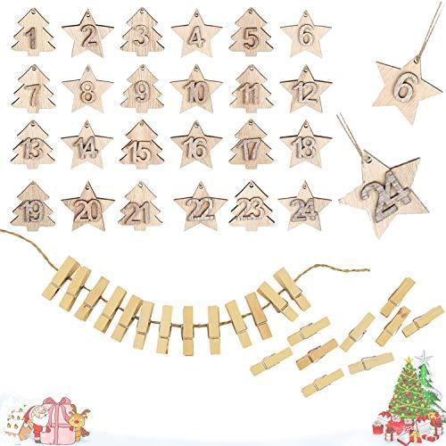 HIQE-FL Adorno Navideño de Madera,Adornos de Estrellas para Arbol de Navidad,Adornos de Madera de Colgantes de Navidad,Estrella de Madera de Decoracion,Colgantes de Madera (A)