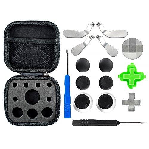 eXtremeRate Thumbsticks D-Pad Sticks Paddles Kappen Analogsticks Tasten Set mit Schraubendreher für Xbox One Xbox One Elite Xbox One S Controller(18 Teiliges Set)