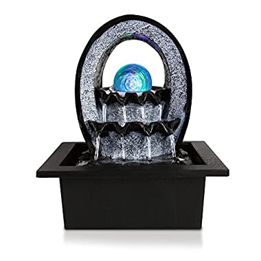 SereneLife Desktop Electric Water Fountain Decor w/ LED Illuminated Crystal Ball Accent - Indoor Outdoor Portable Tabletop Decorative Waterfall Kit Includes Submersible Pump & 12V Adapter - SLTWF74LED