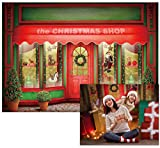 Allenjoy 7X5ft Red and Green Christmas Store Backdrop Santa Toys Display Xmas Day Warm Winter Decorations Family Party Background Photo Studio Booth Kids Photography Props