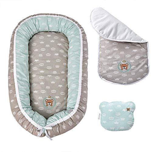 Sei Design Babynestchen Bezug 100% Baumwolle 88x60x12 + Kopfkissen Bärchen 21x25 | Babynest