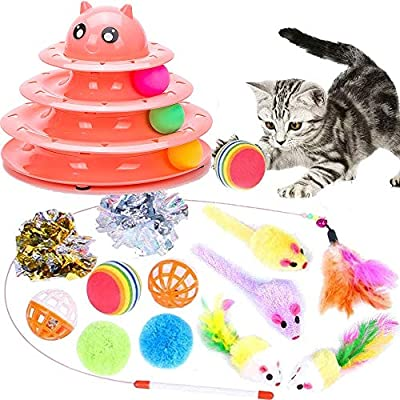 Speedy Panther Cat Toy Roller Tracks Cat Toys for Indoor Cats Ball Cat Feather Wand Toy Interactive Cat Toys for Kitten (14 Pack)