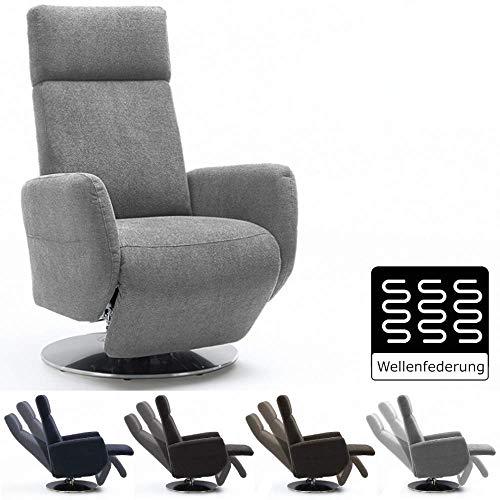 Cavadore TV-Sessel Cobra / Fernsehsessel mit Liegefunktion, Relaxfunktion / Stufenlos verstellbar / Ergonomie S / Belastbar bis 130 kg / 71 x 108 x 82 / Hellgrau