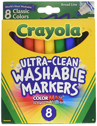 Crayola Washable Markers, Broad Line, 8 Count, Pack of 2