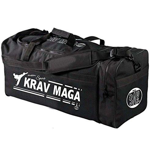 BAY® XL Sporttasche Mein Sport Krav MAGA, SV, Tasche, Trainingstasche, Boxtasche Boxingtasche Box Bag, schwarz, 70 x 32 x 30 cm Kampfsport Tasche mit Aufdruck Druck Self Defense Sport Training