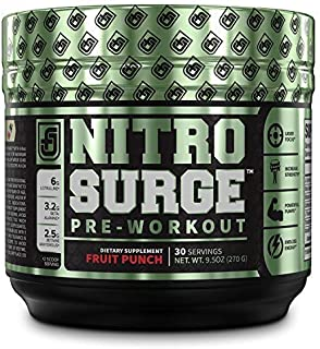 NITROSURGE Pre Workout Supplement - Endless Energy, Instant Strength Gains, Clear Focus, Intense Pumps - Nitric Oxide Booster & Powerful Preworkout Energy Powder - 30 Servings, Fruit Punch