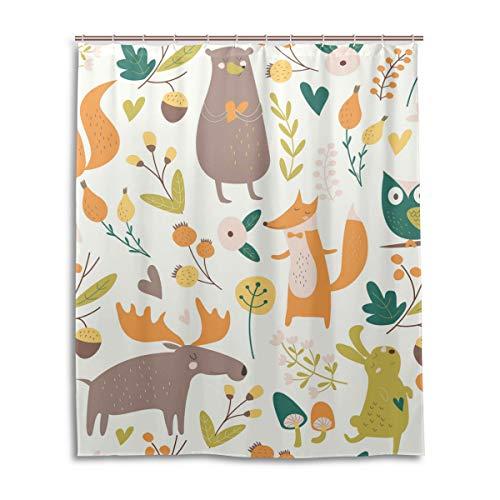 MyDaily Bär Eichhörnchen Elch Eule Fuchs Duschvorhang 152,4 x 182,9 cm, schimmelresistent und wasserdicht Polyester Dekoration Badezimmer Vorhang