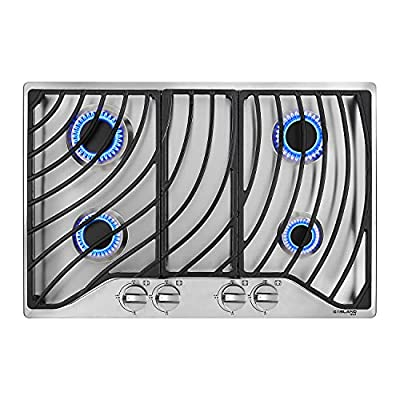 """30"""" Built-in Gas Cooktop, GASLAND Chef GH1304SF 4 Italy Sabaf Sealed Burner Gas Stovetop, 30 inch Drop in Gas Range Cooktop, 28,300 BTU NG/LPG Convertible, Heavy Duty Cast Iron Grates with Metal Knobs"""