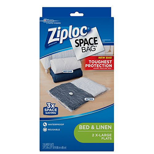 Ziploc Clothing Space Bag-Clear &, XL, Black, 2 Count