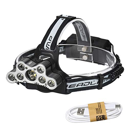 Camping Light Vissen zaklamp oplaadbaar voor 18650 batterijen, 7 LED-koplampen koplampen verlichting hoofdlamp LED-koplampen
