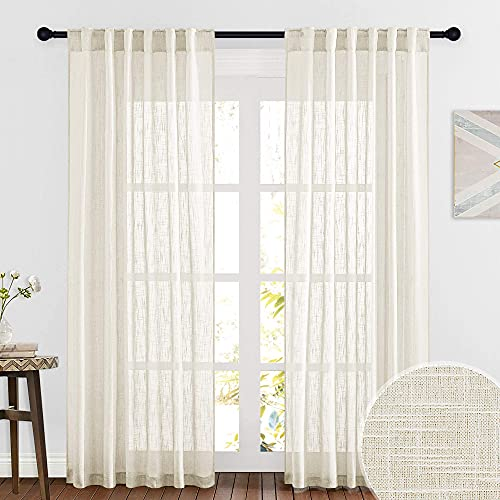 RYB HOME Decor Faux Linen Blended Sheer Curtains, Semitransparent Sheer Curtains Panels for Bedroom Living Room Home Office, Warm Beige, W 52 x L 84 inches Long, 2 Pcs