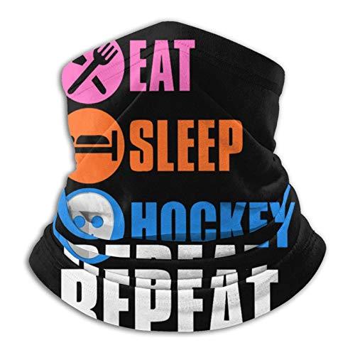 Fsrkje Eat Sleep Hockey Microfiber Neck Warmer Headwear Bufanda Clima frío Invierno Deportes al aire libre Bandana Balaclava Unisex