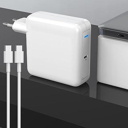 87W Adaptador de Corriente USB C Cargador Compatible con 2016 2017 2018 Mac Book 13/15 Pulgadas,Incluye Cable E-Marker USB C (6.6ft/2m), Cargador de reemplazo para Otro Dispositivo electrónico Tipo C