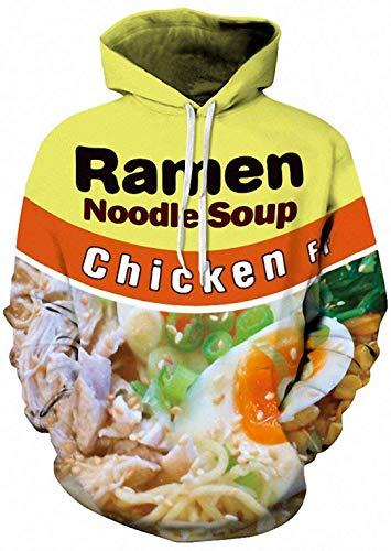 comefohome Herren Kapuzenpullover 3D Damen Ramen Pullover Hoodie Unisex Langarm Sweatshirt Drucken Noodle Beef Chicken Soup Chicken S