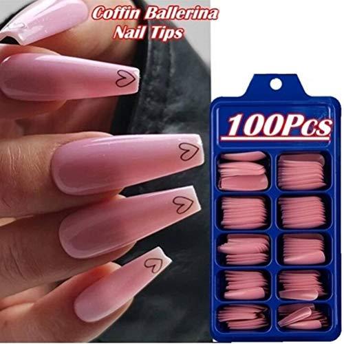 100 Stücke Acryl Nagelspitzen Gefälschte Särge Nagel, Natürliche Französisch Acryl Künstliche Gefälschte Falsche Nägel mit 10 Verschiedene Größen für Damen