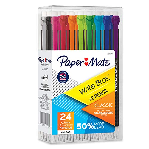 Paper Mate Mechanical Pencils, Write Bros. Classic #2 Pencil, Great for Standardized Testing, 0.7mm, 24 Count