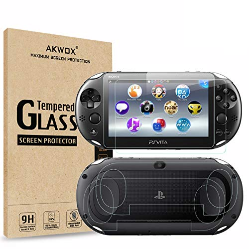 (4-Pack) 2 Front+2 Back Covers Screen Protectors for Sony PlayStation Vita 2000, Akwox 9H Tempered Glass Front Screen Protector and HD Clear PET Back Screen Protective Film for PS Vita PSV 2000
