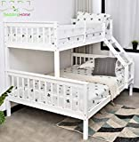 Triple Bunk Bed 3FT Single 4.6Ft Double Solid Pine Wood Bunk Beds Triple Sleeper Beds for Adult and Children in Grey & White (White)