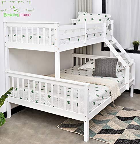 Litera triple de 3 pies, individual de 12 cm, de madera de pino macizo, cama triple para adultos y niños, en gris y blanco (blanco)