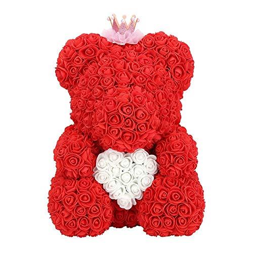 DEWIN Rosenbär - 37mm Festival Souvenir Andenken rot süß Rose Blume Bär, romantische Geschenk Liebe Herz