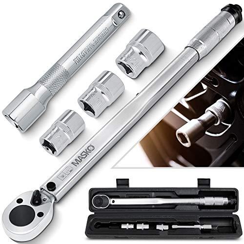MASKO® Drehmomentschlüssel 6tlg. Set 40-210Nm 1/2 ' CV inkl. 3 Stecknüsse 17mm, 19mm, 21mm und Verlängerung 125mm inkl. Koffer +/- 4% Toleranz Reifenschlüssel Auto Drehmoment-Schlüssel, Silber