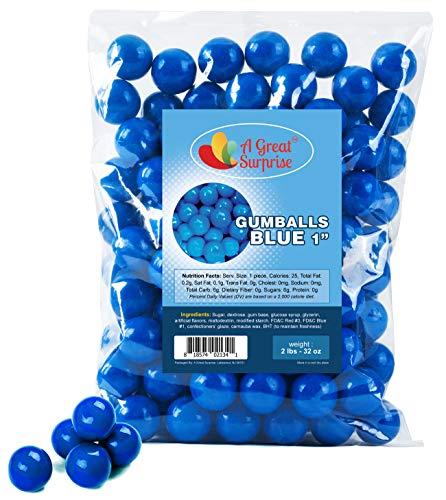 Gumballs in Bulk – Blue Gumballs for Candy Buffet – Gumballs 1 Inch – Bulk Candy 2 LB