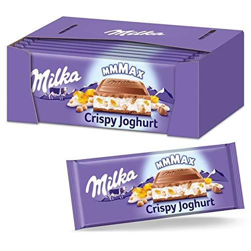 Milka Crispy-Joghurt 4 x 300g Großtafel, Zartschmelzende Schokoladentafel aus Alpenmilch mit Joghurtfüllung, Knusperreis und Cornflakes