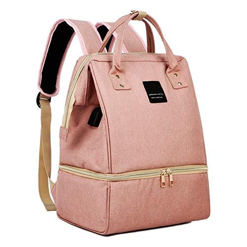 Mochila com bomba de leite com compartimentos para bolsa térmica e bomba de leite integrada USB para carregamento, bolsas para bomba de fraldas para mães que trabalham (rosa)
