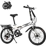 MXCYSJX Vélo Pliant, Vélo Pliable Adulte Léger Hommes Femmes Vélos, 20 en Vélo Pliant Banlieusard Pliant Ville Vélo Compact Vélo,Blanc,20in