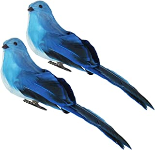 F Fityle 2Pcs Realistic Feathered Birds with Clip, Artificial Foam Birds Crafts for Garden Parties Lawn Decor, Blue