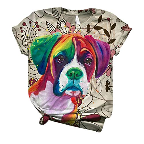 Dosoop Graphic Short Sleeve for Women,Summer Casual Loose Tunic Tees Tops Cute Pet Dog Printed T-Shirt Blouse Pullover