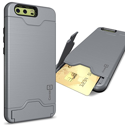 CoverON Credit Card Holder Protective SecureCard Series for Huawei P10 Plus Case, Gunmetal Gray