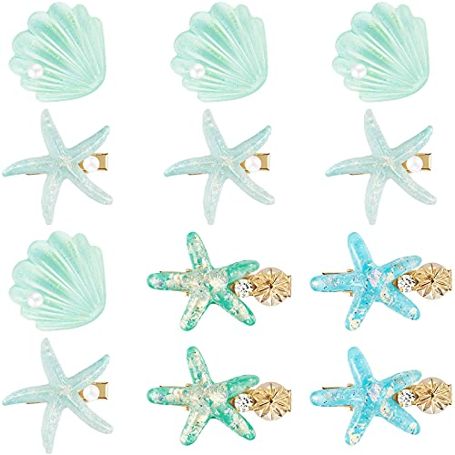 12 Pieces Artificial Shell Pearl Starfish Hair Clip Set Acrylic Resin Girl Lady Hair Clip Headdress Hairstyle Tool Accessories Beach Wedding Supplies (Chic Blue Style)