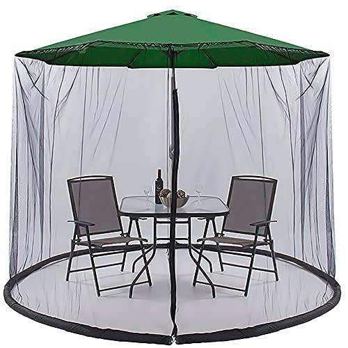 iSinofc Sombrilla de jardín al aire libre sombrilla para mesa de patio, mosquitero, cubierta de red de mosquitos, sombrilla de terraza al aire libre mesa de comedor mosquitero negro 3 x 2,3 x 2,3 m