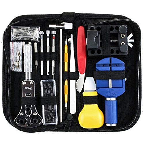 Wellveus 147Pcs Watch Repair Kit, Watch Repair Tools Professional Spring Bar Tool Set, Watch Band Link Pin Tool Set with Carrying Case