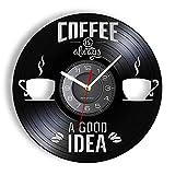MASERTT Cafe Shop Vinilo Decorativo CD Disco Reloj de Pared El café Siempre es una Buena Idea Reloj de Pared Vintage Barista Coffee House