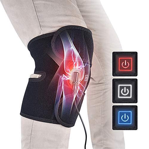 Linbing666 1 pcs Electric heating knee pads Relieve arthritis pain strain sprain 3 heat settings Hot compress Knee support belt Unisex