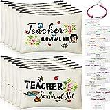 24 Pieces Teacher Appreciation Present Set, 12 Teacher Survival Kit Bag Makeup Pouch Bag, 12 Teacher Blessing Card Bracelet, Teacher Cosmetic Bag Kit for Teacher's Day (Elegant Style,9.1 x 5.9 Inch)