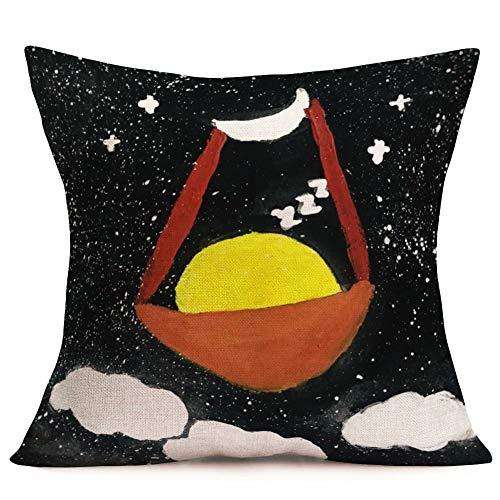 Aremetop Beautiful Starry Sky Cotton Linen Throw Waist Pillow Case Decorative Cushion Cover 18x18 Inch Cotton Linen Cartoon Fairy Tale Moon Cradle Pillowslip for Kids Baby's Room Decor