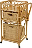 korb.outlet Servierwagen/Küchentrolley aus echtem Rattan in der Farbe Honig DE