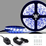 LED Strip Lights with Dimmer Metaku Waterproof Dimmable Tape Lighting Kits 16.4ft SMD 3528 Flexible Bias Ribbon Lighting with 12V Power Adapter for Home Kitchen Cabinet Mirror Bed (Blue)