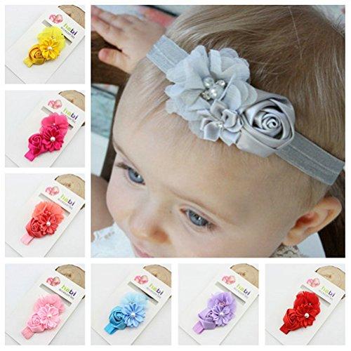 NUOLUX 8ST Cute Baby Girls Sweet Rose Blumen Perle elastisch Haarband Haar Band Zubehör Foto Props
